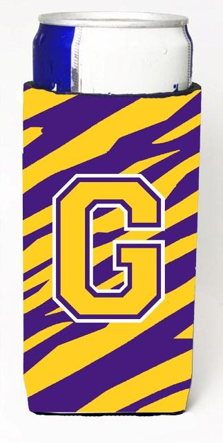 Carolines Treasures CJ1022-GMUK Tiger Stripe - Purple Gold Monogram Letter G Michelob Ultra s For Slim Cans