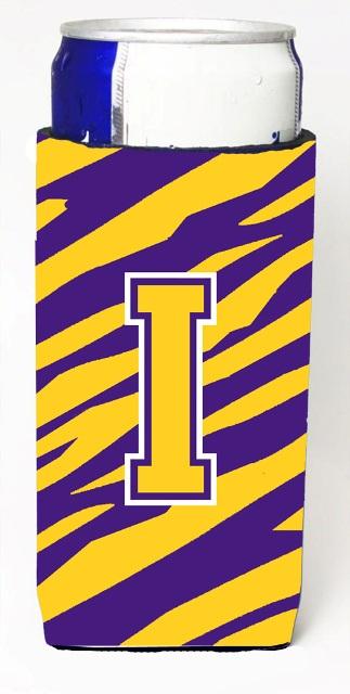 Carolines Treasures CJ1022-IMUK Tiger Stripe - Purple Gold Monogram Letter I Michelob Ultra s For Slim Cans