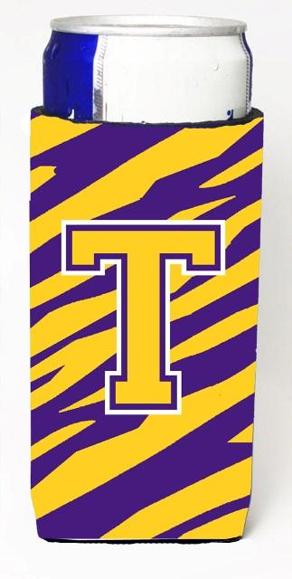 Carolines Treasures CJ1022-TMUK Tiger Stripe - Purple Gold Monogram Letter T Michelob Ultra s For Slim Cans