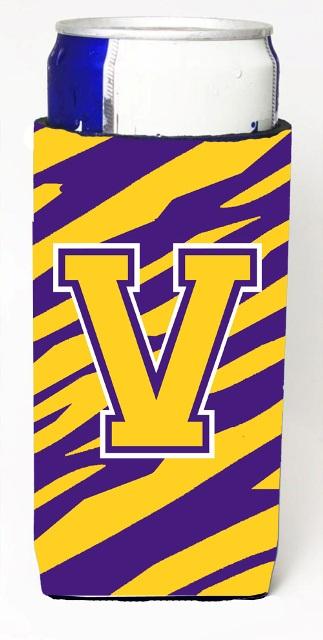 Carolines Treasures CJ1022-VMUK Tiger Stripe - Purple Gold Monogram Letter V Michelob Ultra s For Slim Cans