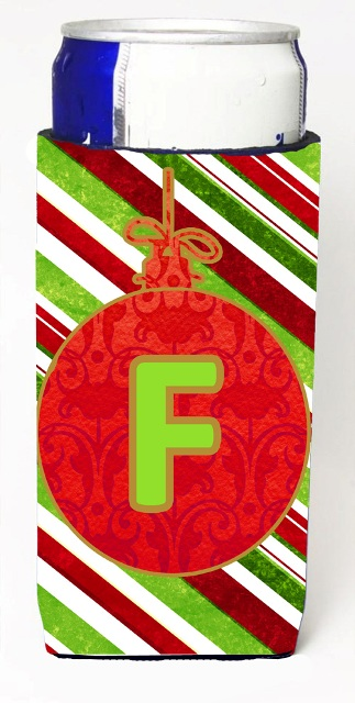 Carolines Treasures CJ1039-FMUK Christmas Ornament Holiday Monogram Initial Letter F Michelob Ultra s For Slim Cans