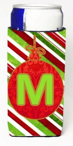 Carolines Treasures CJ1039-MMUK Christmas Ornament Holiday Monogram Initial Letter M Michelob Ultra s For Slim Cans