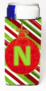 Carolines Treasures CJ1039-NMUK Christmas Ornament Holiday Monogram Initial Letter N Michelob Ultra s For Slim Cans
