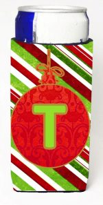 Carolines Treasures CJ1039-TMUK Christmas Ornament Holiday Monogram Initial Letter T Michelob Ultra s For Slim Cans