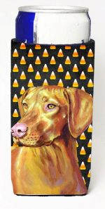 Carolines Treasures LH9066MUK Vizsla Candy Corn Halloween Portrait Michelob Ultra bottle sleeves For Slim Cans - 12 oz.