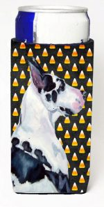 Carolines Treasures LH9067MUK Great Dane Candy Corn Halloween Portrait Michelob Ultra bottle sleeves For Slim Cans - 12 oz.