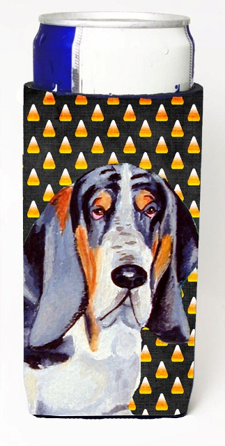 Carolines Treasures LH9068MUK Basset Hound Candy Corn Halloween Portrait Michelob Ultra bottle sleeves For Slim Cans - 12 oz.