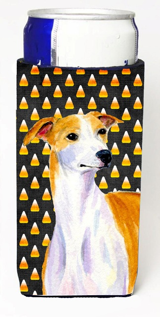 Carolines Treasures LH9069MUK Whippet Candy Corn Halloween Portrait Michelob Ultra bottle sleeves For Slim Cans - 12 oz.