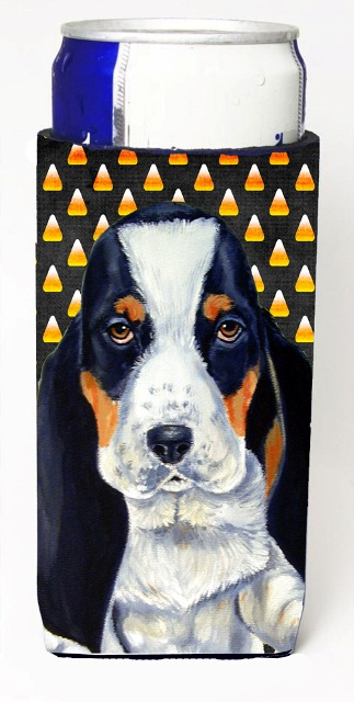 Carolines Treasures LH9070MUK Basset Hound Candy Corn Halloween Portrait Michelob Ultra bottle sleeves For Slim Cans - 12 oz.