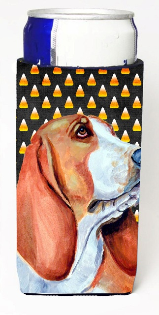 Carolines Treasures LH9073MUK Basset Hound Candy Corn Halloween Portrait Michelob Ultra bottle sleeves For Slim Cans - 12 oz.