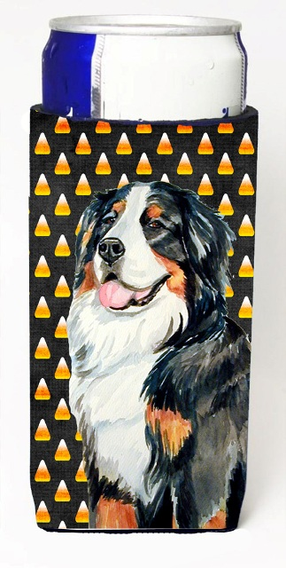 Carolines Treasures LH9075MUK Bernese Mountain Dog Candy Corn Halloween Portrait Michelob Ultra bottle sleeves For Slim Cans - 12 oz.