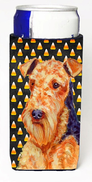 Carolines Treasures LH9077MUK Airedale Candy Corn Halloween Portrait Michelob Ultra bottle sleeves For Slim Cans - 12 oz.