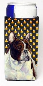Carolines Treasures LH9078MUK French Bulldog Candy Corn Halloween Portrait Michelob Ultra bottle sleeves For Slim Cans - 12 oz.
