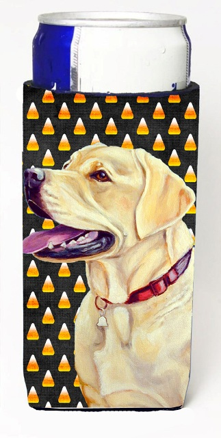 Carolines Treasures LH9079MUK Labrador Yellow Candy Corn Halloween Portrait Michelob Ultra bottle sleeves For Slim Cans - 12 oz.