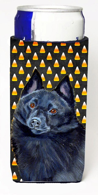 Carolines Treasures LH9080MUK Schipperke Candy Corn Halloween Portrait Michelob Ultra bottle sleeves For Slim Cans - 12 oz.