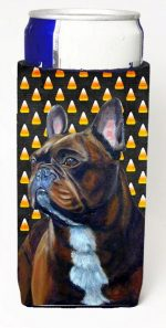 Carolines Treasures LH9081MUK French Bulldog Candy Corn Halloween Portrait Michelob Ultra bottle sleeves For Slim Cans - 12 oz.