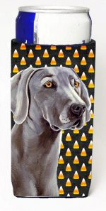 Carolines Treasures LH9082MUK Weimaraner Candy Corn Halloween Portrait Michelob Ultra bottle sleeves For Slim Cans - 12 oz.