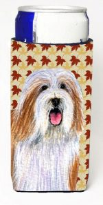 Carolines Treasures LH9105MUK Bearded Collie Fall Leaves Portrait Michelob Ultra s For Slim Cans - 12 oz.