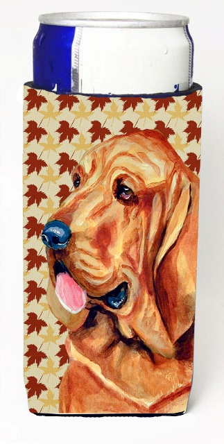 Carolines Treasures LH9106MUK Bloodhound Fall Leaves Portrait Michelob Ultra s For Slim Cans - 12 oz.