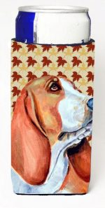 Carolines Treasures LH9107MUK Basset Hound Fall Leaves Portrait Michelob Ultra s For Slim Cans - 12 oz.