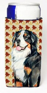 Carolines Treasures LH9109MUK Bernese Mountain Dog Fall Leaves Portrait Michelob Ultra s For Slim Cans - 12 oz.