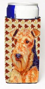 Carolines Treasures LH9111MUK Airedale Fall Leaves Portrait Michelob Ultra s For Slim Cans - 12 oz.