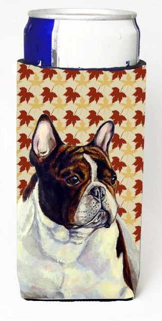 Carolines Treasures LH9112MUK French Bulldog Fall Leaves Portrait Michelob Ultra s For Slim Cans - 12 oz.