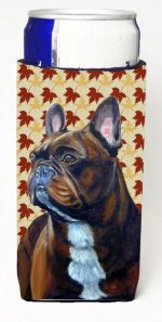 Carolines Treasures LH9115MUK French Bulldog Fall Leaves Portrait Michelob Ultra s For Slim Cans - 12 oz.