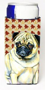Carolines Treasures LH9117MUK Pug Fall Leaves Portrait Michelob Ultra s For Slim Cans - 12 oz.