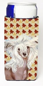 Carolines Treasures LH9122MUK Chinese Crested Fall Leaves Portrait Michelob Ultra s For Slim Cans - 12 oz.