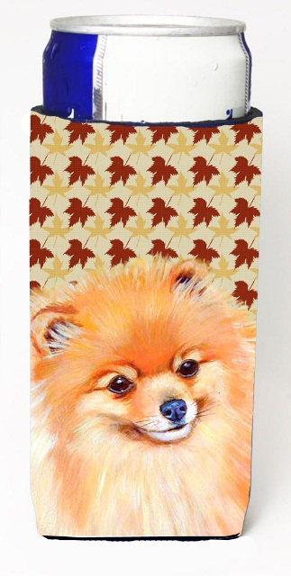 Carolines Treasures LH9125MUK Pomeranian Fall Leaves Portrait Michelob Ultra s For Slim Cans - 12 oz.