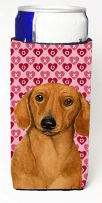 Carolines Treasures LH9132MUK Dachshund Hearts Love And Valentines Day Portrait Michelob Ultra s For Slim Cans - 12 oz.