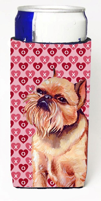 Carolines Treasures LH9134MUK Brussels Griffon Hearts Love And Valentines Day Portrait Michelob Ultra s For Slim Cans - 12 oz.