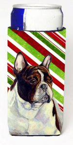 Carolines Treasures LH9247MUK French Bulldog Candy Cane Holiday Christmas Michelob Ultra bottle sleeves For Slim Cans - 12 oz.