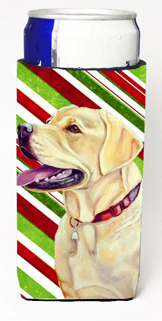 Carolines Treasures LH9248MUK Labrador Candy Cane Holiday Christmas Michelob Ultra bottle sleeves For Slim Cans - 12 oz.