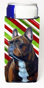 Carolines Treasures LH9250MUK French Bulldog Candy Cane Holiday Christmas Michelob Ultra bottle sleeves For Slim Cans - 12 oz.