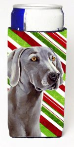 Carolines Treasures LH9251MUK Weimaraner Candy Cane Holiday Christmas Michelob Ultra bottle sleeves For Slim Cans - 12 oz.