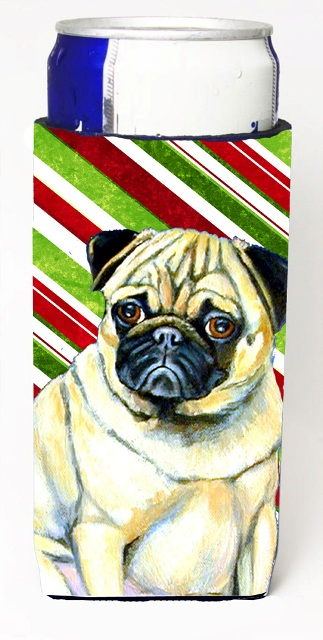 Carolines Treasures LH9252MUK Pug Candy Cane Holiday Christmas Michelob Ultra bottle sleeves For Slim Cans - 12 oz.