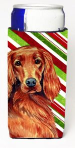 Carolines Treasures LH9254MUK Irish Setter Candy Cane Holiday Christmas Michelob Ultra bottle sleeves For Slim Cans - 12 oz.