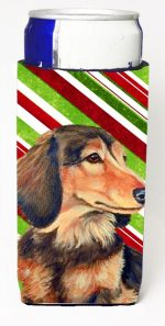 Carolines Treasures LH9256MUK Dachshund Candy Cane Holiday Christmas Michelob Ultra bottle sleeves For Slim Cans - 12 oz.