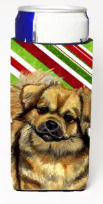 Carolines Treasures LH9259MUK Tibetan Spaniel Candy Cane Holiday Christmas Michelob Ultra bottle sleeves For Slim Cans - 12 oz.