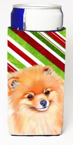 Carolines Treasures LH9260MUK Pomeranian Candy Cane Holiday Christmas Michelob Ultra bottle sleeves For Slim Cans - 12 oz.
