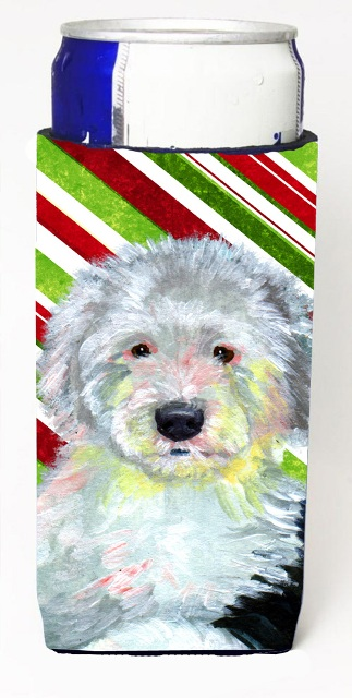 Carolines Treasures LH9261MUK Old English Sheepdog Candy Cane Holiday Christmas Michelob Ultra bottle sleeves For Slim Cans - 12 oz.