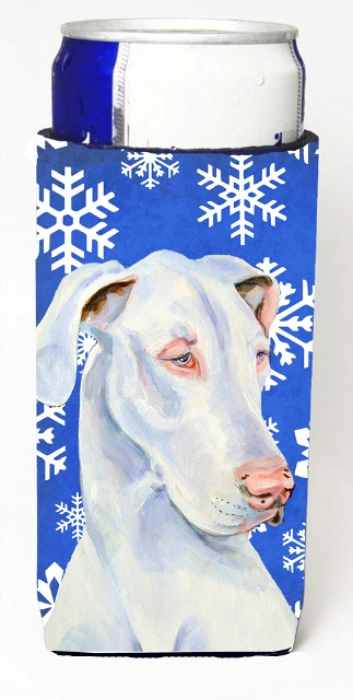 Carolines Treasures LH9266MUK Great Dane Winter Snowflakes Holiday Michelob Ultra bottle sleeves For Slim Cans - 12 oz.