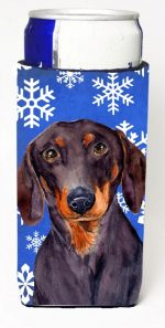 Carolines Treasures LH9268MUK Dachshund Winter Snowflakes Holiday Michelob Ultra bottle sleeves For Slim Cans - 12 oz.