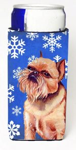 Carolines Treasures LH9269MUK Brussels Griffon Winter Snowflakes Holiday Michelob Ultra bottle sleeves For Slim Cans - 12 oz.