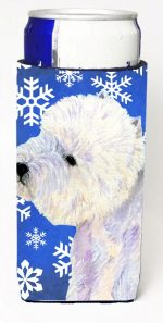 Carolines Treasures LH9270MUK Westie Winter Snowflakes Holiday Michelob Ultra bottle sleeves For Slim Cans - 12 oz.