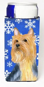 Carolines Treasures LH9271MUK Silky Terrier Winter Snowflakes Holiday Michelob Ultra bottle sleeves For Slim Cans - 12 oz.