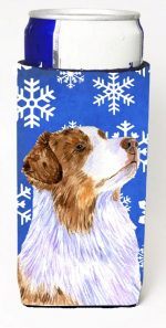 Carolines Treasures LH9273MUK Australian Shepherd Winter Snowflakes Holiday Michelob Ultra bottle sleeves For Slim Cans - 12 oz.