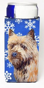 Carolines Treasures LH9275MUK Cairn Terrier Winter Snowflakes Holiday Michelob Ultra bottle sleeves For Slim Cans - 12 oz.